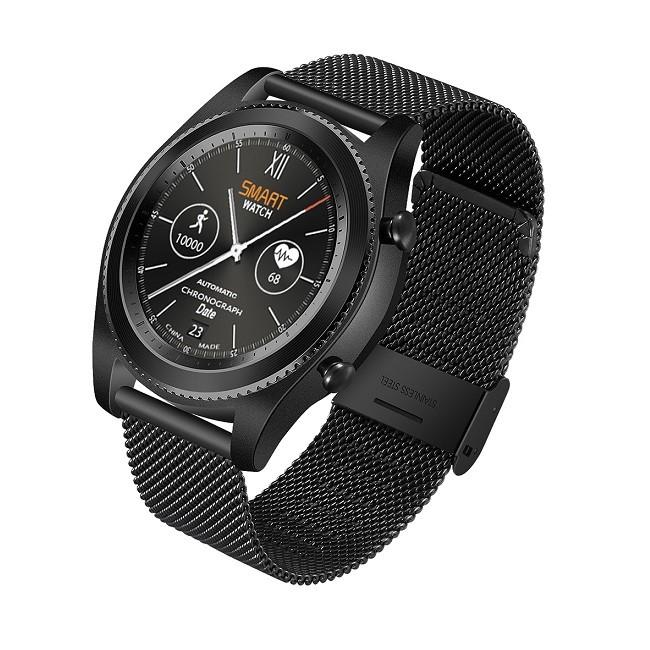 Смарт-часы NO.1S9 черные, ремешок сталь, монохр дисплей - картинка