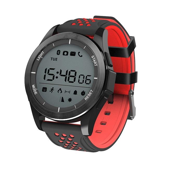 Смарт-часы NO.1F3 черно-красные, монохр дисплей - картинка