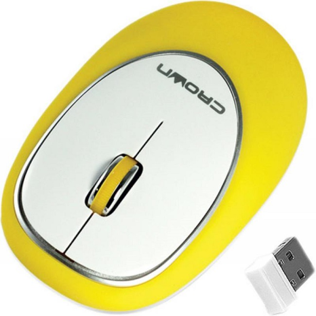 Мышь Crown CMM-931W беспроводная, 1000dpi, USB, силиконовая мягкая, жёлтый - картинка