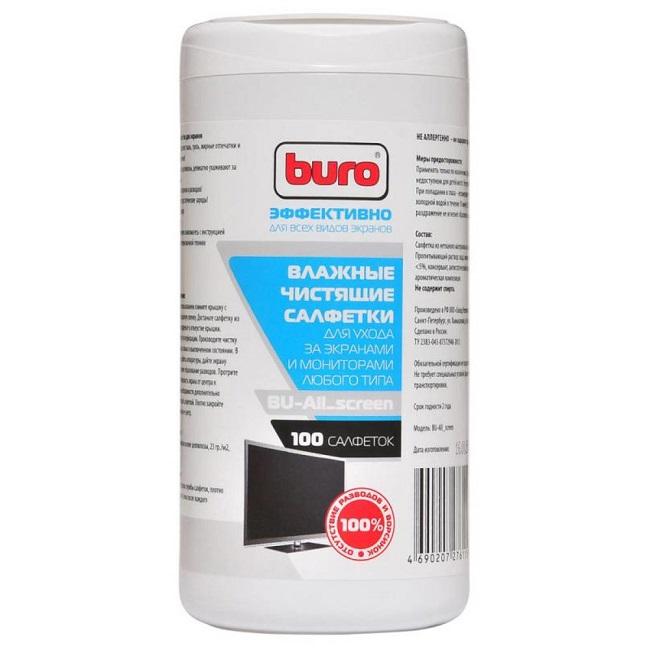 Салфетки Buro BU-All_screen для экранов мониторов/плазменных/ЖК телевизоров/ноутбуков туба 100шт вла - картинка