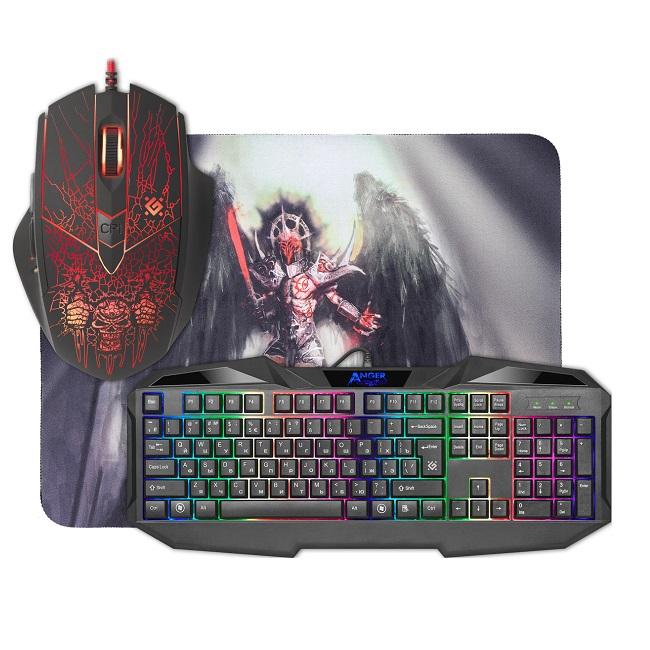 Комплект клавиатура + мышь + ковер Defender Anger MKP-019 игровой, подсветка, USB, чёрный - картинка