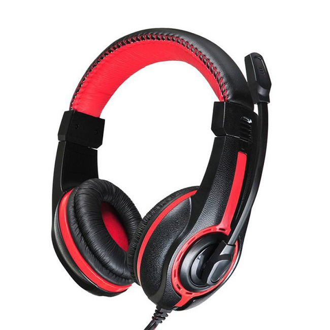 Наушники с микрофоном Oklick HS-L200 черный/красный 2м мониторы (Y-819) - картинка