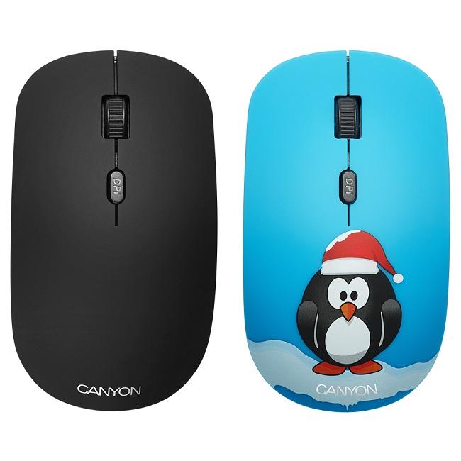 Мышь Canyon CND-CMSW401PG беспроводная, 1600 dpi, покрытие soft-touch, сменные панели: чёрная, голубая с принтом пингвина, USB - картинка