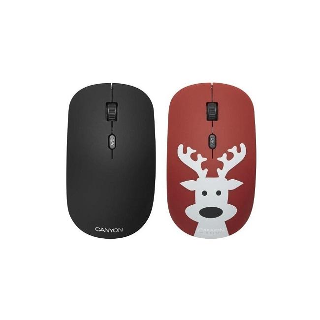 Мышь Canyon CND-CMSW401DR беспроводная, 1600 dpi, покрытие soft-touch, сменные панели: чёрная, красная с принтом оленя, USB - картинка