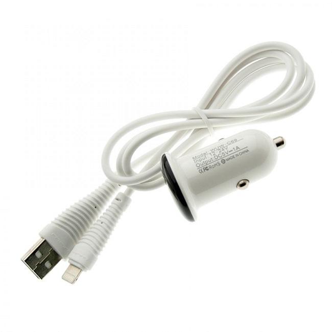 Зарядное устройство автомобильное 2 в 1 WUW-T21 для iPhone 5 1A(1653) - картинка