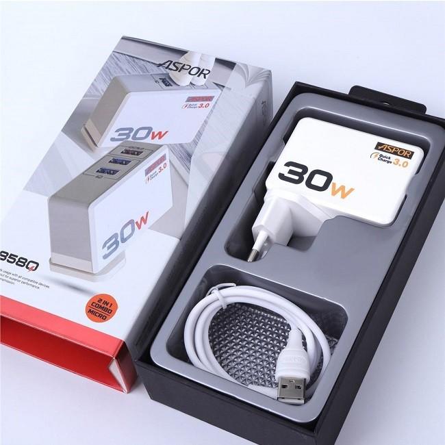 Зарядное устройство сетевое блок Aspor 30W с 3-мя USB выходами Model A858Q(2667) - картинка