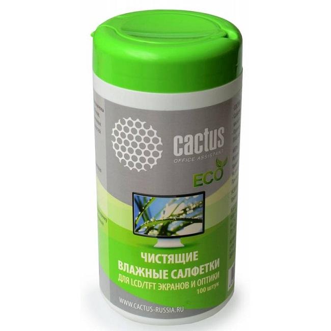 Салфетки Cactus CS-T1001E для экранов и оптики туба 100шт влажных - картинка
