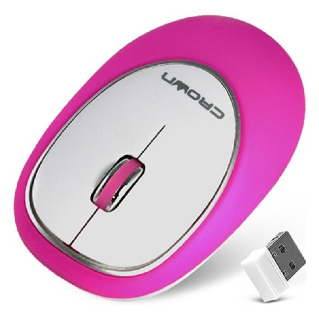 Мышь Crown CMM-931W беспроводная, 1000dpi, USB, силиконовая мягкая, розовый - картинка