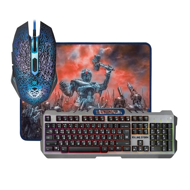 Комплект клавиатура + мышь + ковер Defender Killing Storm MKP-013L игровой, подсветка, USB, чёрный - картинка