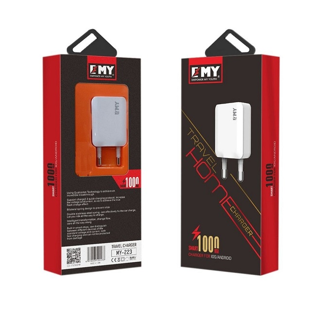 Зарядное устройство сетевое блок EMY MY-223 1А б/к(2233) - картинка